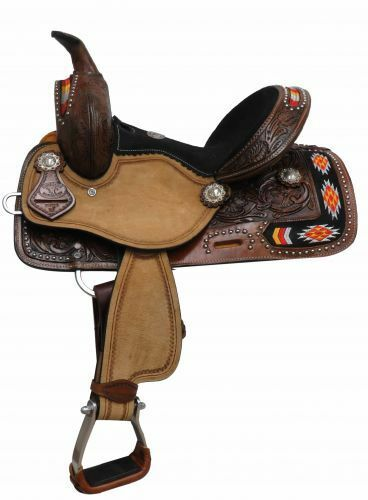 12 Pretty Embroiderosso Leather Western Youth Saddle Horse Or Pony FQHB