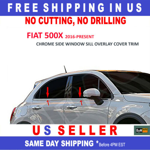 FIAT 500X 2016-2020 Side Window Sill Overlay Cover Trim Set Stainless Steel 4PCS