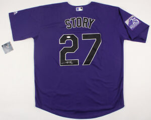 new style eef21 8a6bf Details about Trevor Story Signed Colorado Rockies 25th Anniversary  Majestic Jersey (JSA COA)