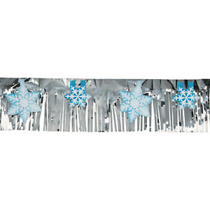Details About 7ft Christmas Winter Party Decor Blue White Snowflake Foil Banner Garland
