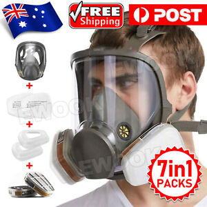 Gas Mask 7 in 1 Full Face Chemical Spray Painting Respirator Vapour 6800 AU