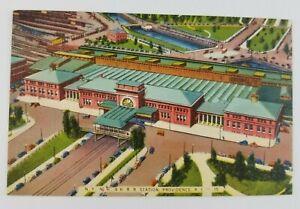 Postcard-Linen-NY-NH-Railroad-Station-Providence-Rhode-Island-Air-View