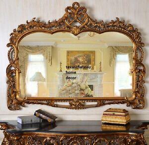 Antique gold mantel mirror