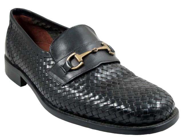 Davenci hombre 4468 teje zapatos italianos de cuero, hebilla negra