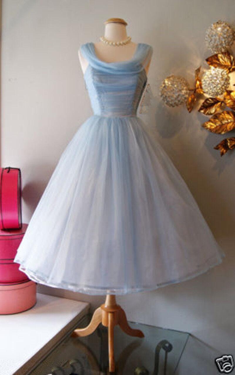 Vintage 1950's Short Prom Dresses Tea Length Mini Cinderella bluee Party Dresses