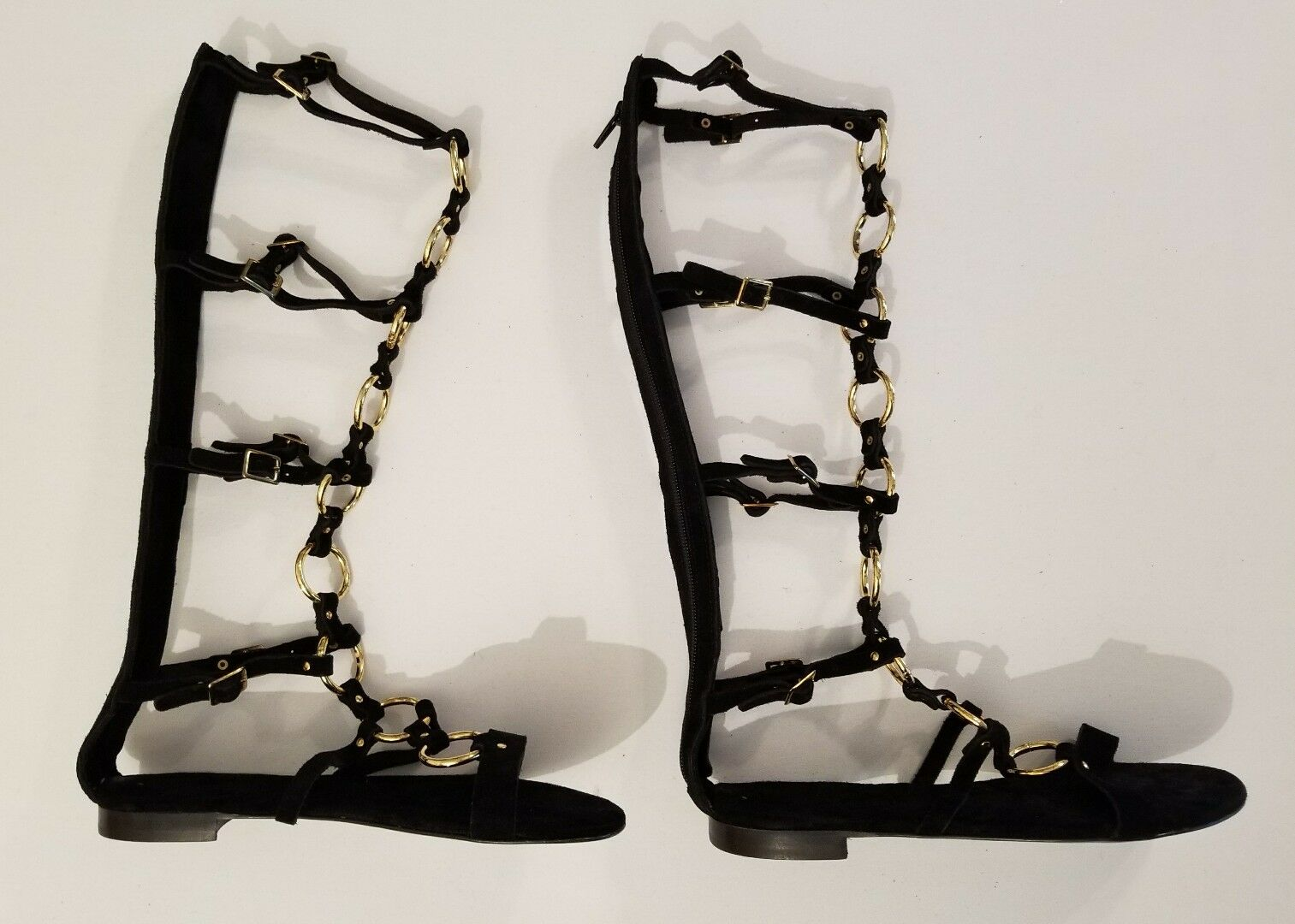 Free Free Free People Road Trip Luxe nero Suede oro Links Tall Gladiator Sandals 37 New 23a364