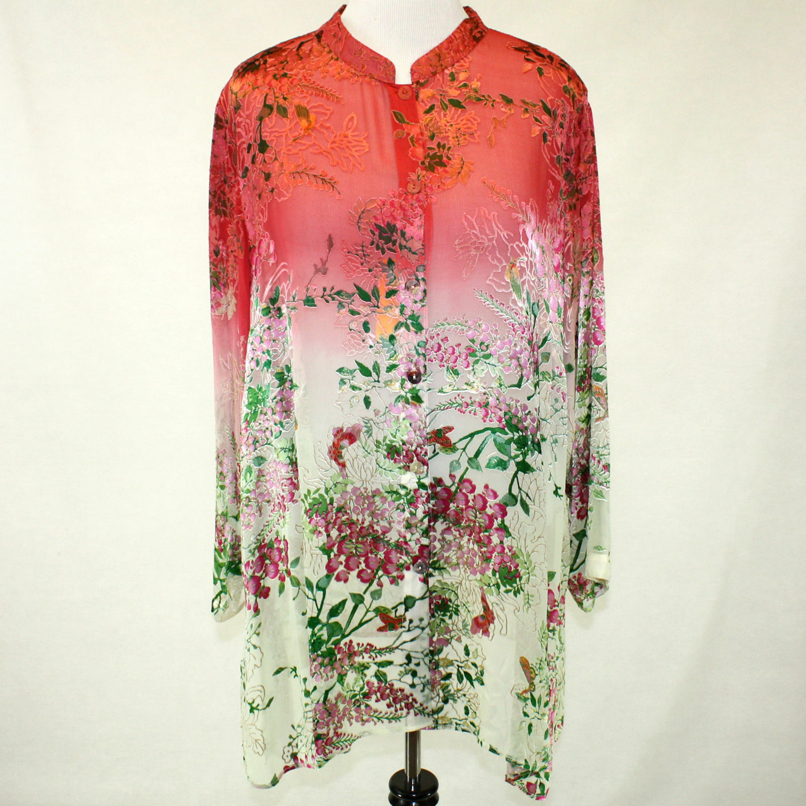 Citron Clothing Coral Jasmine Bloom Butterflies Button Down Blouse Plus 3X