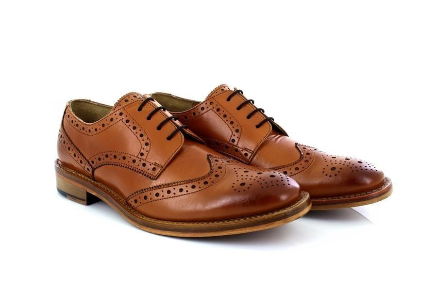 Kensington Mens Wing Cap Brogue Gibson Leather Tan Shoes