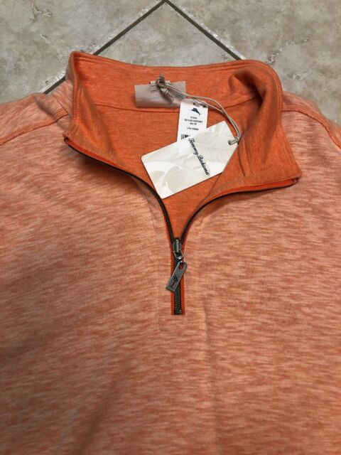 TOMMY BAHAMA Reversible 1//2 Zip Pullover Shirt Sea Glass Curuba Orange $99.50