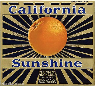 ORANGE CRATE LABEL VINTAGE CALIFORNIA SUNSHINE ART DECO SUN RAYS GOLD BRONZED