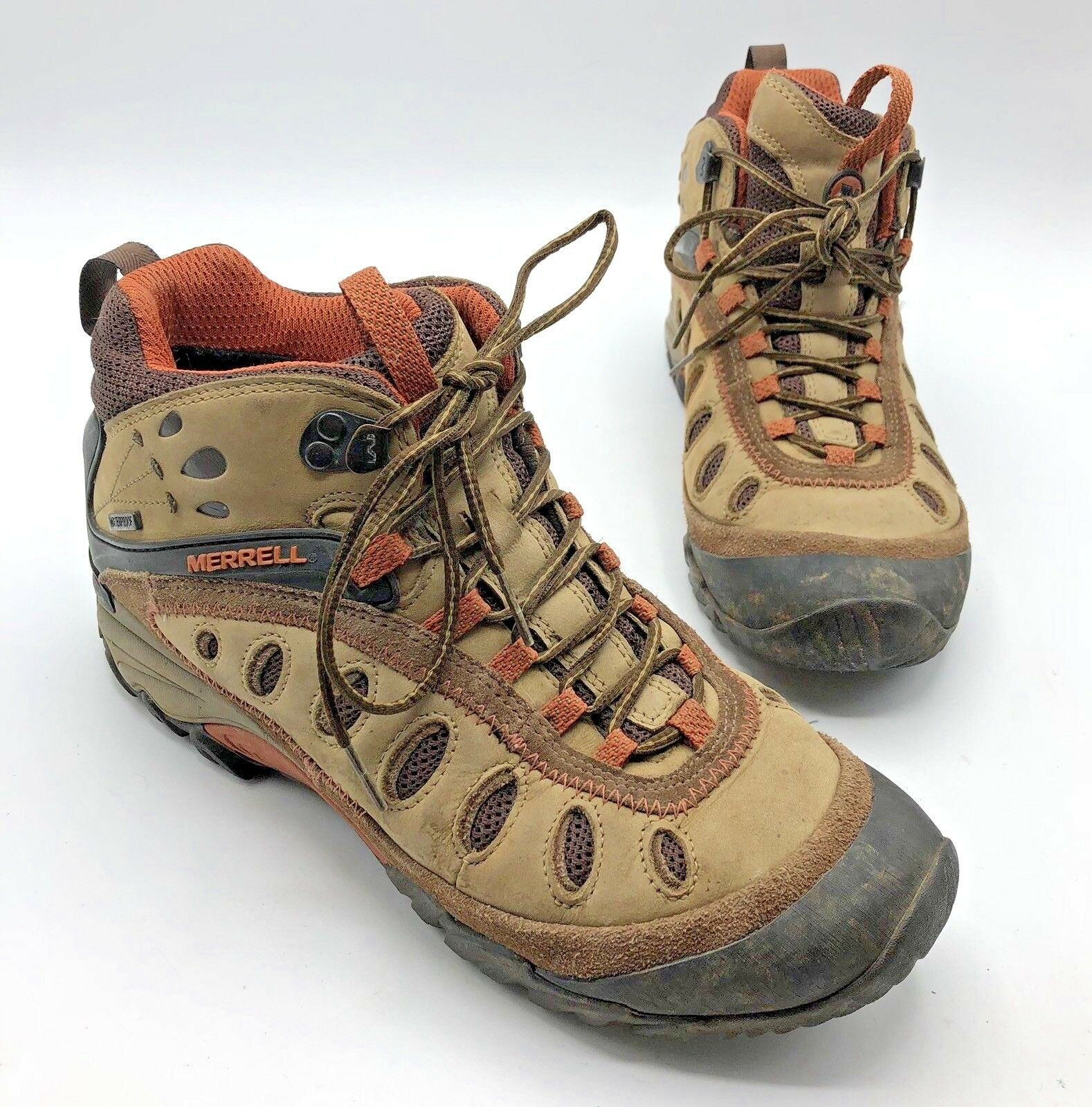 Merrell Chameleon Arc 2 Mid Women Brown Tan Hiking shoes Size 9.5 Pre Owned