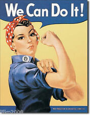 WE CAN DO IT! ROSIE THE RIVETER, RETRO METAL WALL SIGN 40X30cm WW2, FEMINIST