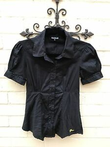 Guess-Ladies-Black-S-S-Blouse-Size-S