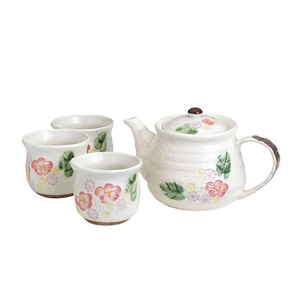 Minoyaki Pottery Tea Set  blanc Floral - 1 théière et 5 Tasses-Casual en céramique