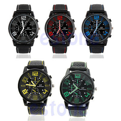 Men's Cool Analog Rubber Band Military Racing F1 Quartz Sports Wrist Watch