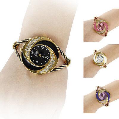 Women Fashion Whirlwind Circle Style Steel Analog Quartz Bracelet Watch Stylish