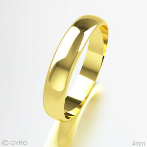 Wedding-Ring-18ct-Yellow-Gold-Premium-Quality-D-Shaped-Band-Rings-UK-Made