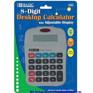 Bazic 8 Digit Calculator With Adjustable Display Grey NEW!!