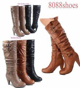 Stylish-Chunky-Heel-Knee-High-Zipper-Dress-Boots-Women-039-s-Shoes-Size-5-10-NEW