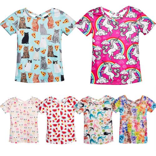 Lovely Girls Kids Child T-Shirt Animal Graphic Print Casual Cross Tee Tops 3-12T