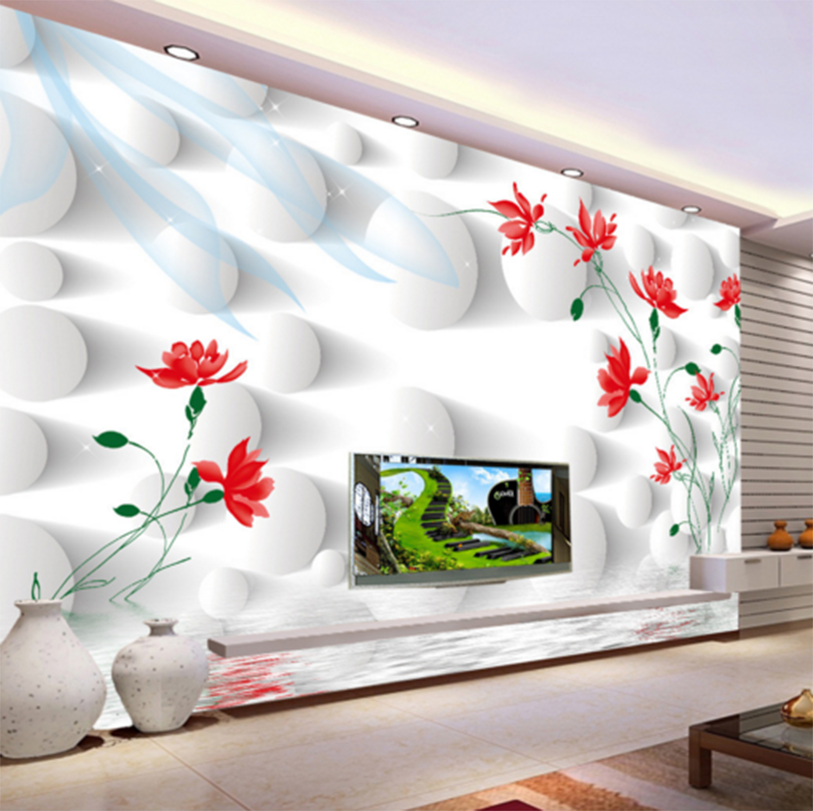 3D ROT Lotus 654 Wallpaper Murals Wall Print Wallpaper Mural AJ WALL AU Kyra