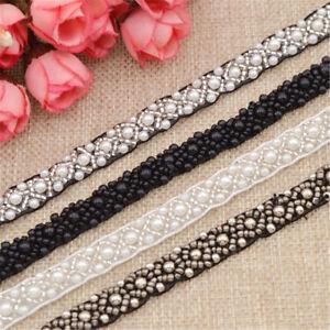1Yd-DIY-Sewing-Applique-Pearls-Beaded-Lace-Trim-Ribbon-Wedding-Dress-Decor-Craft