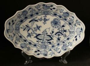Antique-German-Meissen-Porcelain-Blue-Onion-Oval-Serving-Platter-Bowl-c-1850s