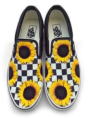 Checkerboard Sunflower Slip-on Vans