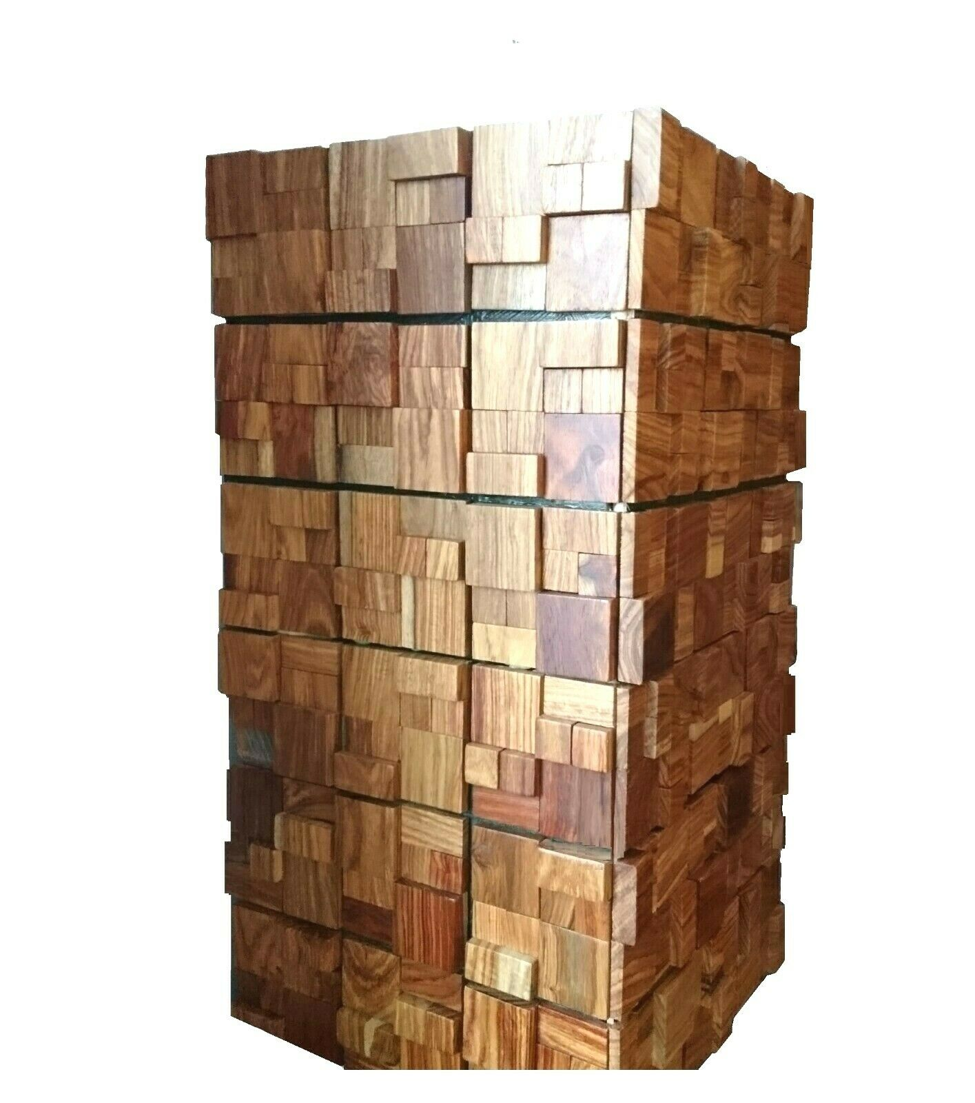 Decorative Wood Planter, Reclaimed Wood Planter, Mosaic Planter, Tower, Tall