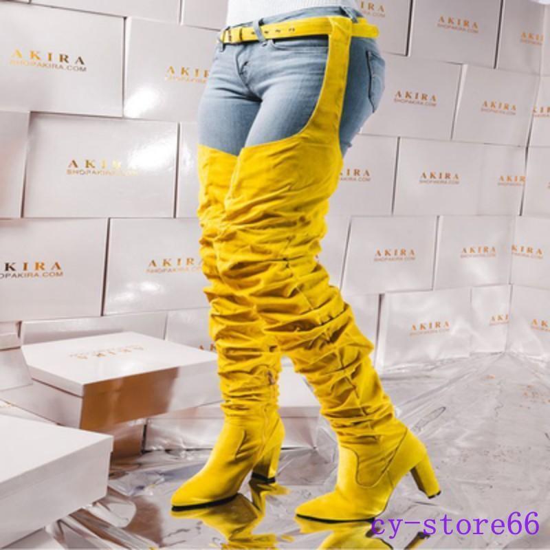 Sexy Mujer Tacones de de de aguja Suede sobre la rodilla muslo Zapatos botas altas con cinturón Club 96e623
