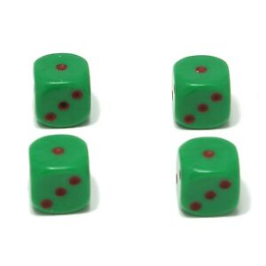 Set-of-Four-Green-Maroon-spots-Dice-Dust-Caps-Snake-Eyes-Retro-Valve-Caps
