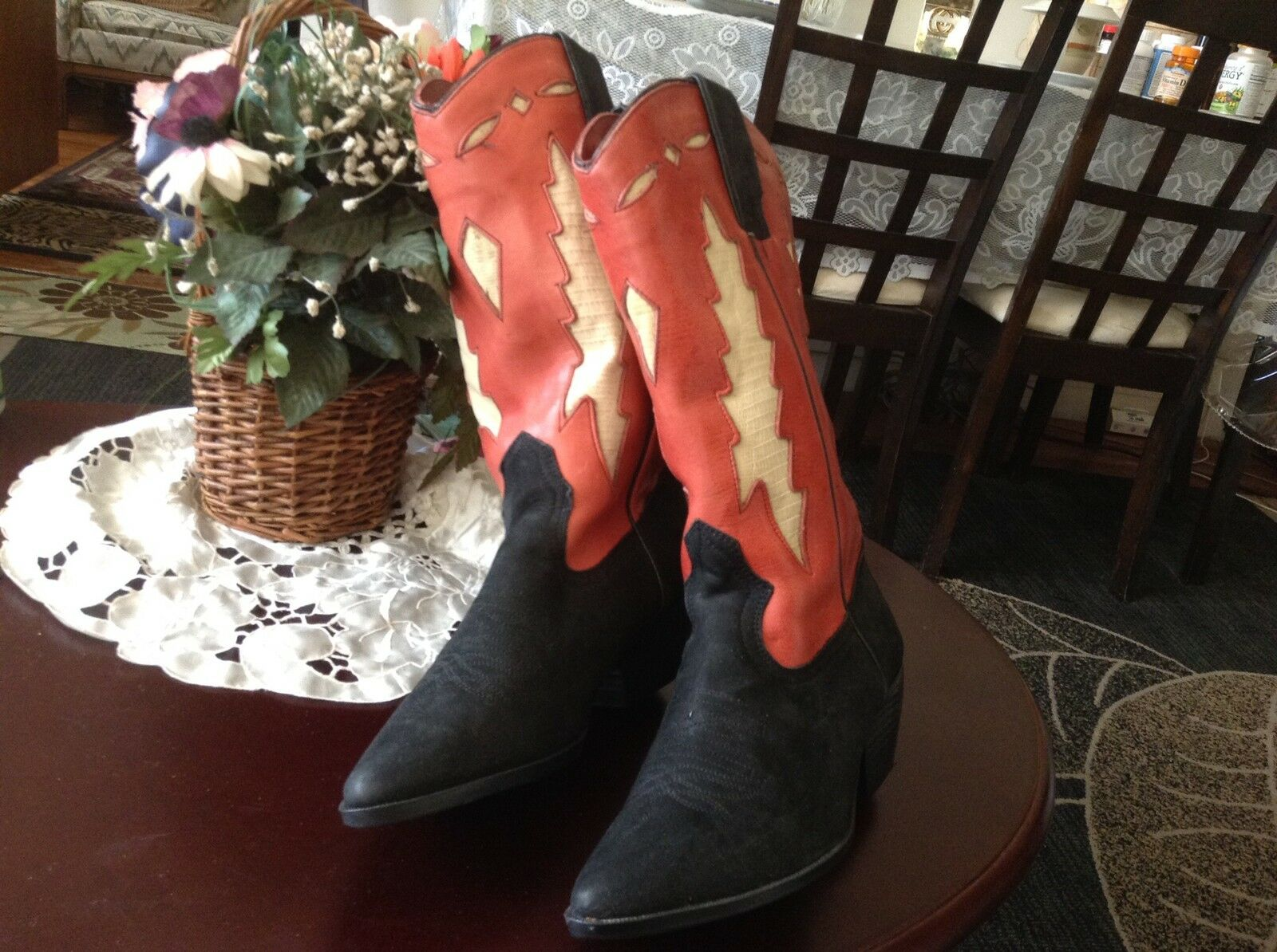Genuine suede and leather western mid calf boots