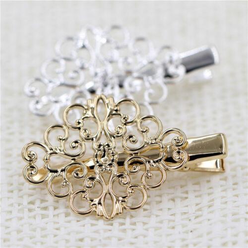 Women Hollow Metal Flower Hair Clip Hair Accessories Hairpin Gold Barrettes