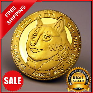 NEW DOGE 1 Dogecoin Cryptocurrency Virtual Currency Gold Plated Coin   BITCOIN