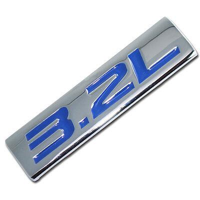 CHROME/BLUE METAL 3.2L ENGINE RACE MOTOR SWAP EMBLEM BADGE FOR TRUNK HOOD DOOR