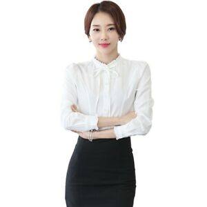 Women-Bow-Tie-Front-Chiffon-Blouse-Stand-Collar-Long-Sleeve-Button-Shirt-Tops