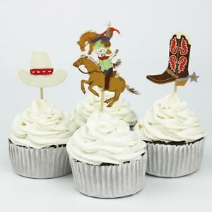 24pcs Cowboys Horses Cupcake Cake Toppers Western Kids Birthday