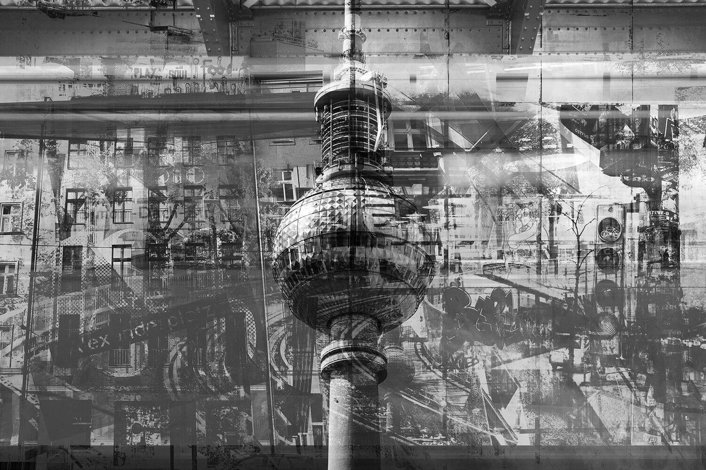 Fototapete Berlin Collage Schwarzweiß - Kleistertapete oder Selbstklebende