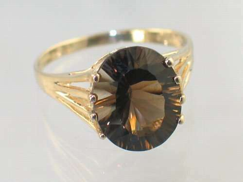 Smoky Quartz  w  2 Accents, 10KY or 14KY gold Ladies Ring, R280-Handmade