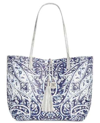 *NEW* International Concepts Reversible Large Faux-Leather Tote blue//white