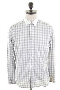 TED-BAKER-Mens-Shirt-Medium-Grey-White-Check-Cotton