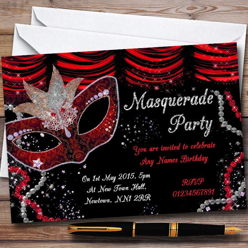 Rouge & Noir Masque Bal Fête Masqué Personnalisé Fête Bal Invitations 84b661
