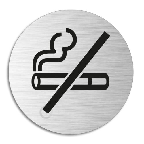 RauchverbotTürschild aus Aluminium Edelstahloptik Ø 75 mm Schild