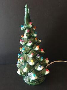 Vintage Light Up 11 Green Flocked Ceramic Christmas Tree Ebay