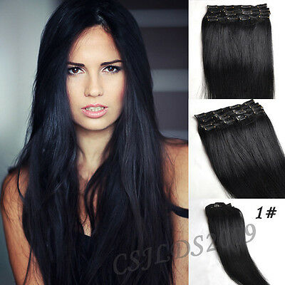 Full Head Clip In 100% Real Human Hair Extensions Jet Black #1 Any Lengths