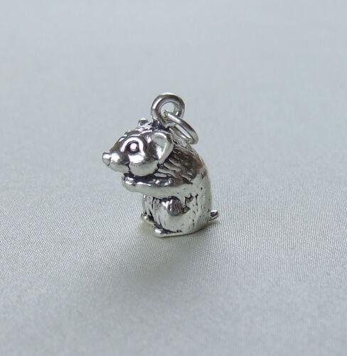 Hamster Haustier Nagetier 3D Charm 925 Sterlingsilber