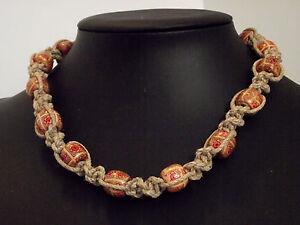 collier perles bois homme