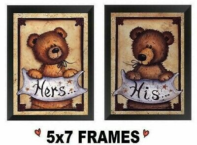 Cute Bathroom Pictures His /& Hers Country Bear Bed /& Bath  Wall Hangings Plaques