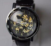 Damen Herren Uhr Automatik Armbanduhr Analog Lederband Restposten NEU