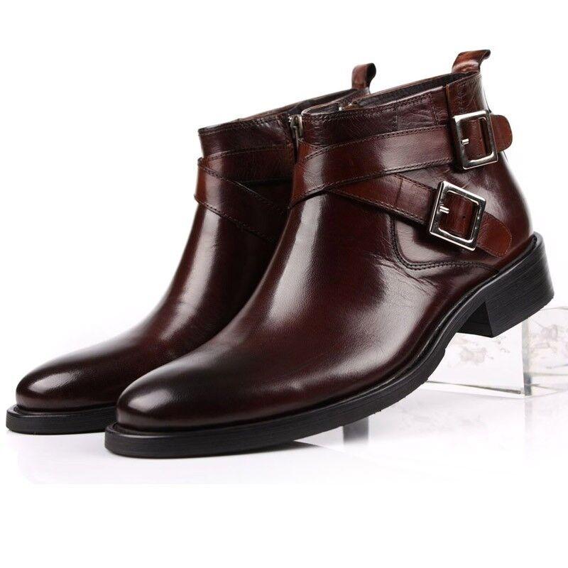 Retro Herren Schwarz Leder Schnalle Stiefel Business Schuhe Ankle Boots Gr.38-45